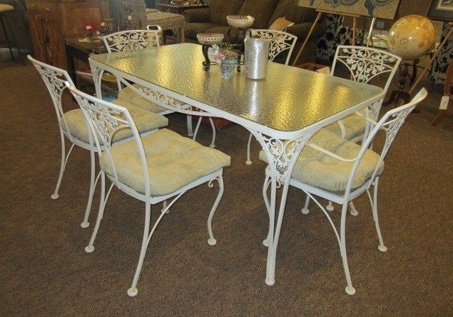 Wrought Iron Glass Top Table With 6 Chairs Great Table For