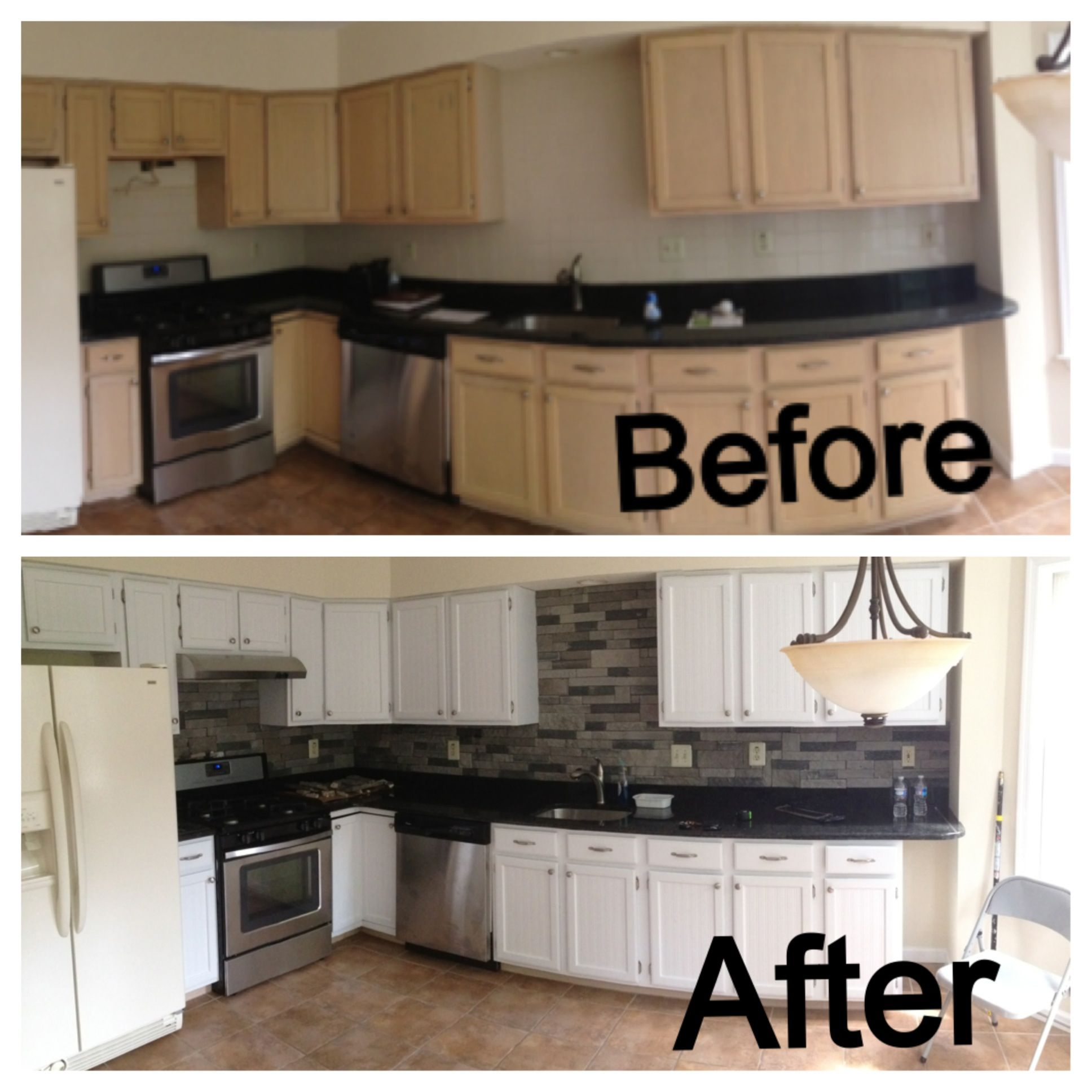 before and after kitchen added the airstone backsplash beadboard painted