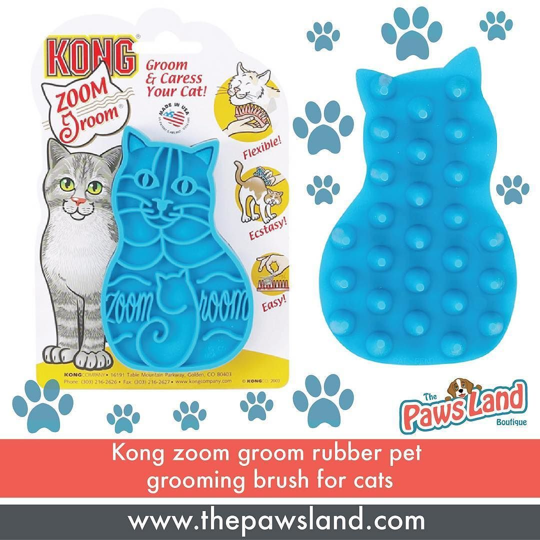 """Kong Zoom Groom rubber pet grooming brushes feature flexible rubber """"fingers"""" that gently collect loose hair like a magnet on wet or dry coats. Fits comfortably in the hand. Works great as a shampooer improving the effectiveness of regular and medicated shampoos. For even better results use one in each hand. Provides a relaxing massaging action as it grooms cats. Kong Zoom Groom for Cats measures 4 3/8""""L x 2 3/4""""W x 1 1/4""""H. Just for $16.25 #meowformation"""