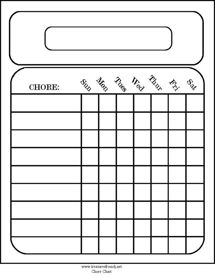 Free blank chore charts templates printables for the for House chores checklist template