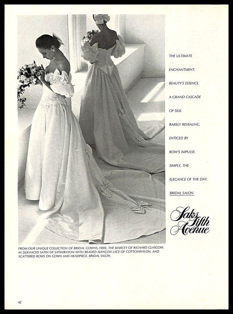 6eaac72e8c 1987 Saks Fifth Avenue Richard Glasgow Wedding Dress Gown Vintage PRINT AD  1980s  SaksFifthAvenue