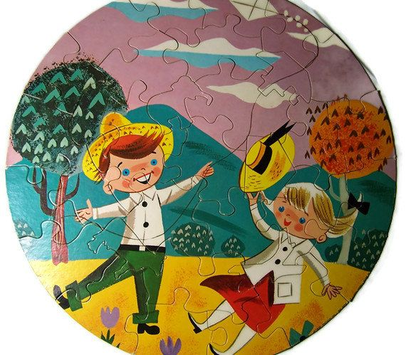 Vintage Puzzle Mid Century Round Boy and Girl Go by GlimmersinTime, $12.00