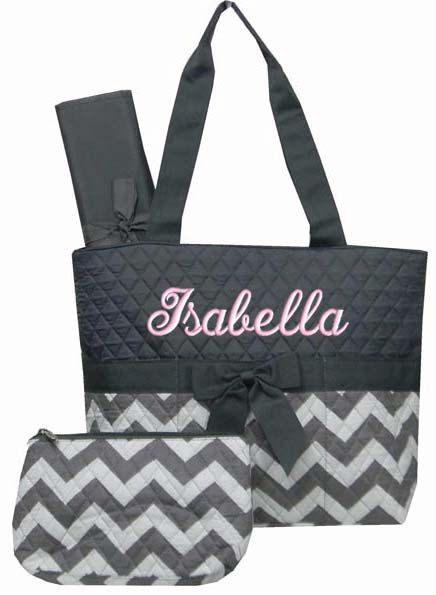 Personalized Diaper Bag Grey Chevron Quilted Monogrammed Gray Baby Tote