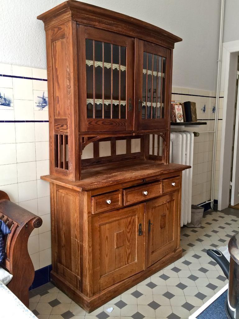 wunderschöner antiker Küchen-Buffetschrank aus Kiefernholz mit ...