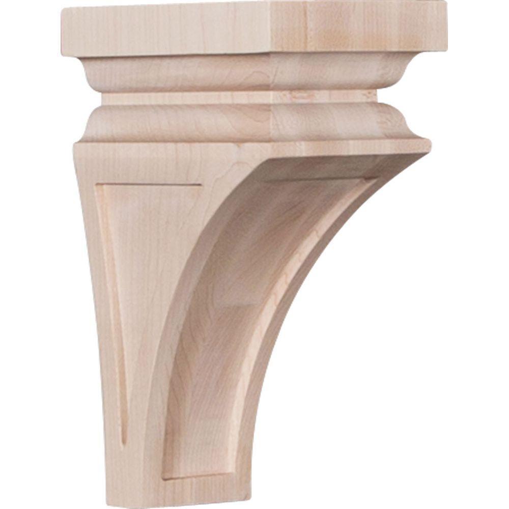 Ekena Millwork 4 in. x 8 in. x 4-3/4 in. Maple Small Nevio Wood Corbel-CORW04X04X08NEMA - The Home Depot