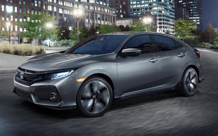 Download wallpapers Honda Civic, 2018, 4k, new cars, gray