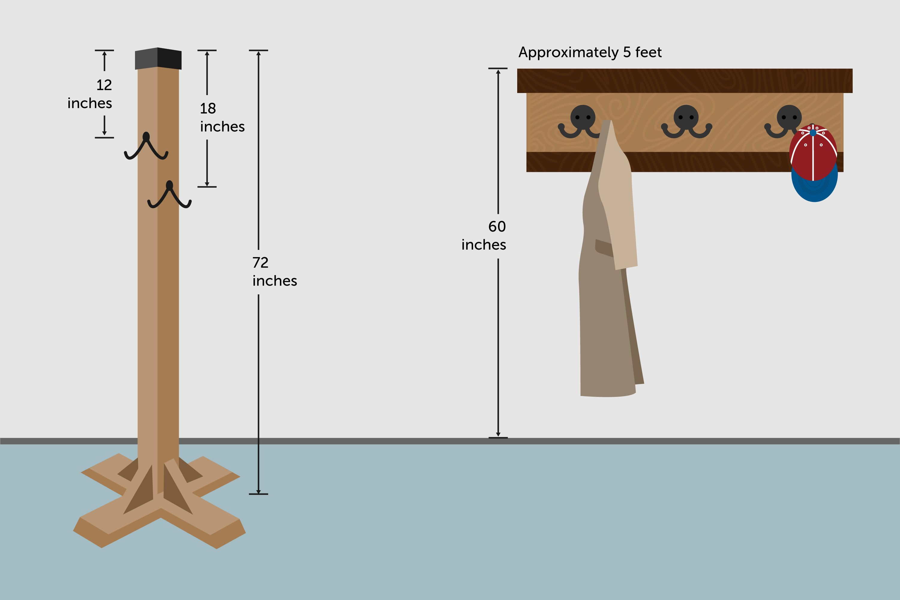 The Height On A Wall To Hang A Coat Rack Hunker Wall Mounted Coat Rack Diy Coat Rack Hanging Coat Rack