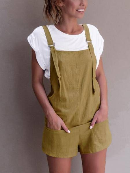 e593629282fc Casual Sleeveless Overalls Romper in Yellowish Brown