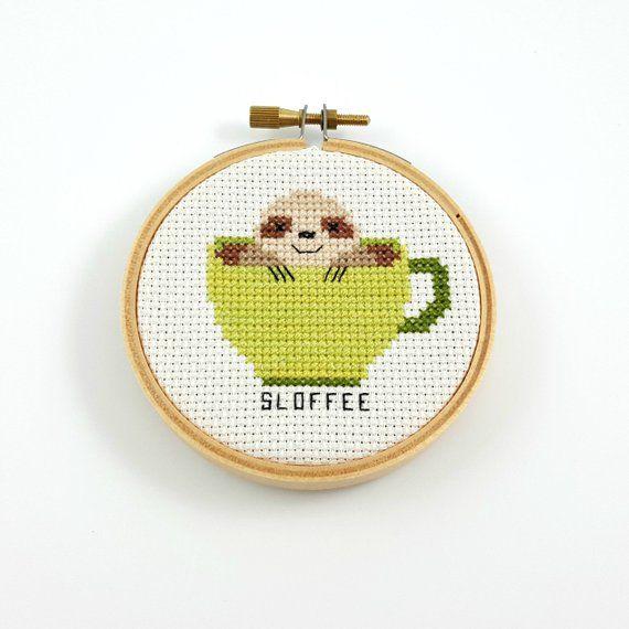 Photo of Sloffee cross stitch pattern, coffee cross stitch, coffee pdf pattern, coffee pun pattern, coffee mug pattern, sloth cross stitch