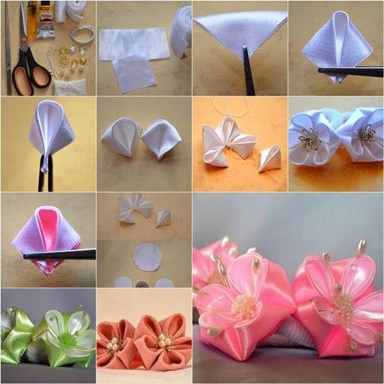 Come fai da te rotonda petali del fiore del nastro