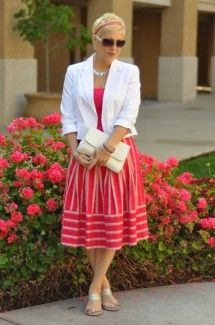 """My Purpose: Feeling pretty in pink today!  Pink is not normally a color I have in my wardrobe but I have felt inspired this spring by the vibrant colors. I am keeping this outfit more office appropriate today with a cute pair of silver sandals and a white crop jacket.  You definitely could wear this skirt with a white t-shirt, sandals and denim jacket to give this skirt an easy going casual look for the weekend. Choose everyday to """"Dress With Purpose""""!"""