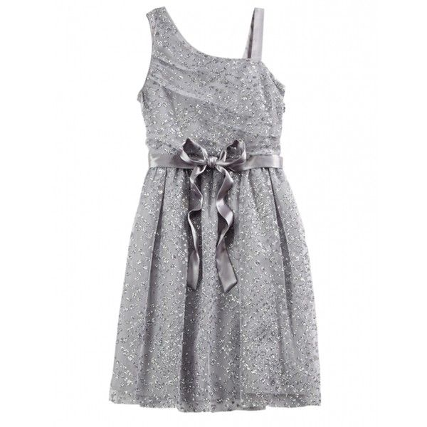 Silver One Shoulder Party Dress ($34) ❤ liked on Polyvore featuring kids clothes and babies.