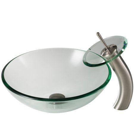 Home Improvement Glass Bathroom Vessel Sink Faucet