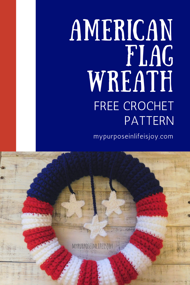 Crochet American Flag Wreath-Free Pattern and Instructions