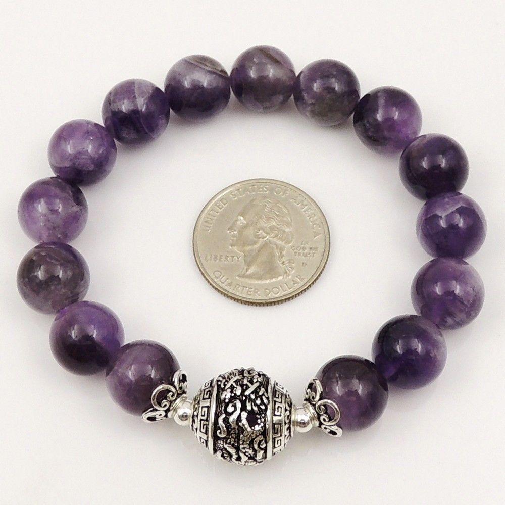 Mens Women Amethyst Sterling Silver Bracelet 12mm Gemstone Bead DIY Karen 160 | eBay