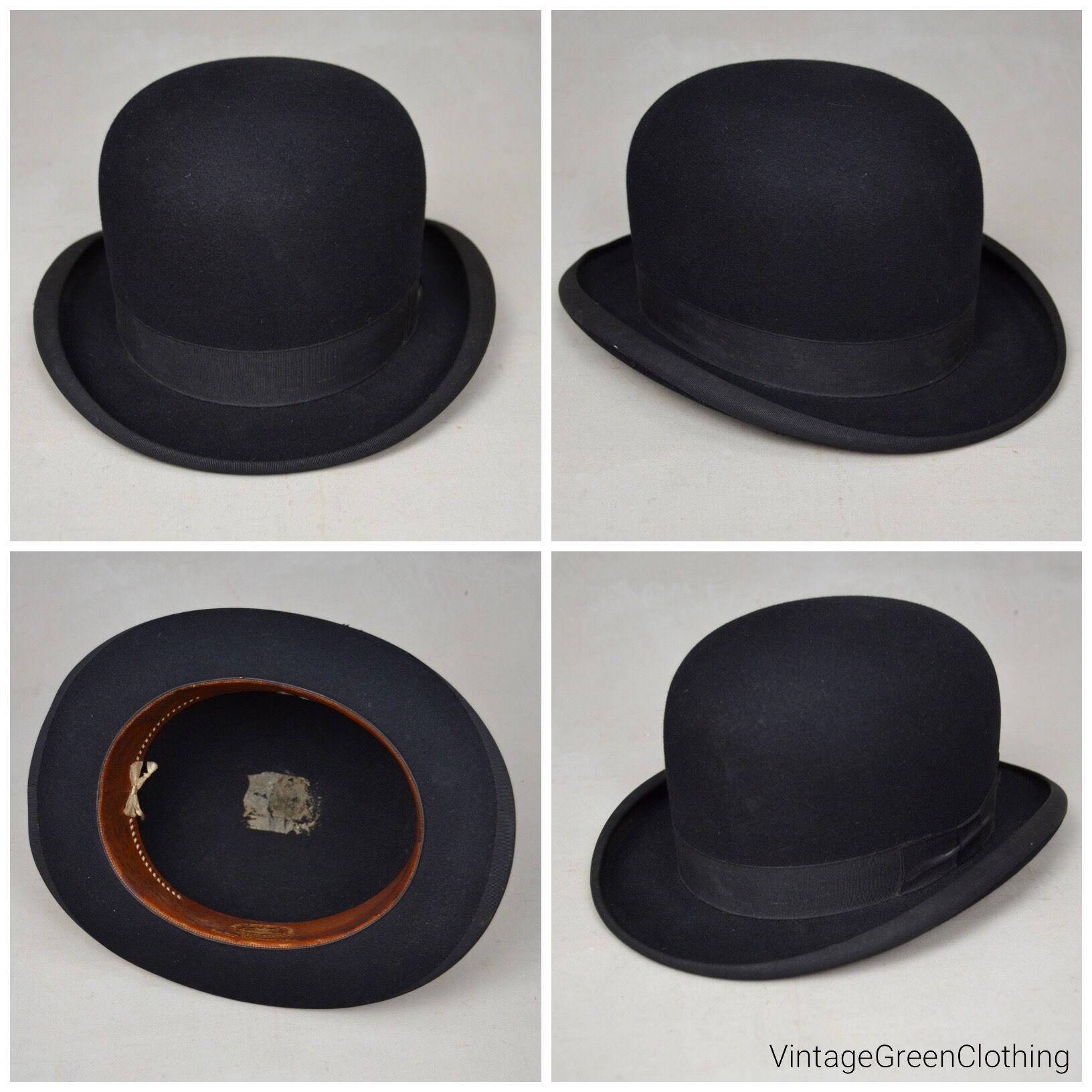 Vintage bowler hat   Derby hat. Black felt fur bowler from Stetson ... f718f340ff6