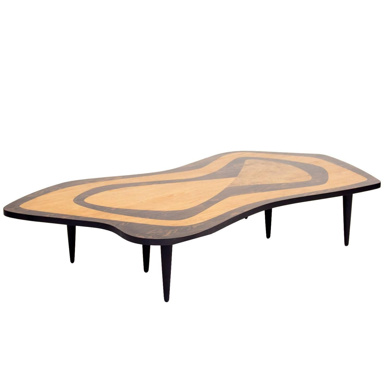 Oversized 1950s intarsia coffee table from a unique collection of antique and