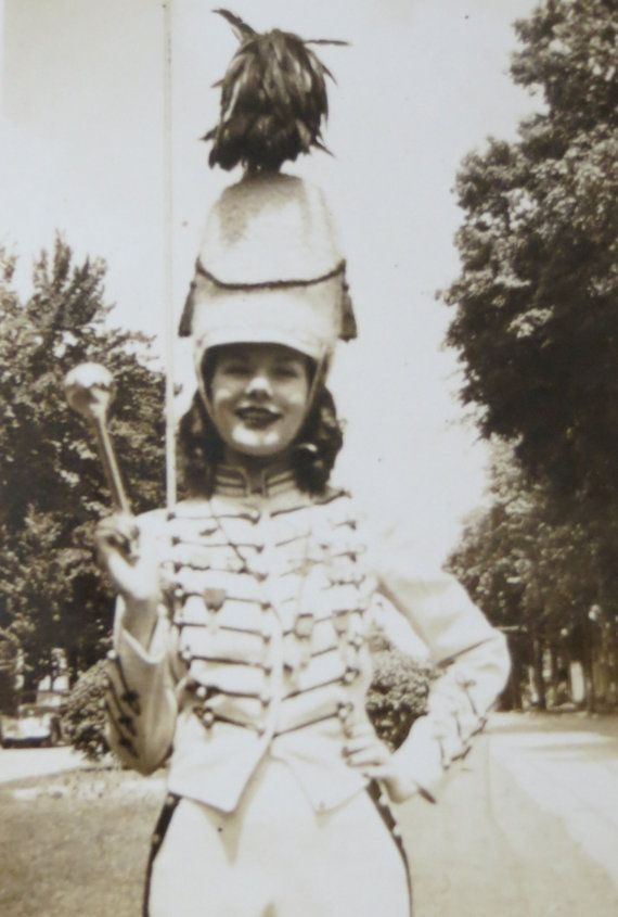 Vintage 1940's Cute High School Majorette Ready For Parade Snapshot Photo