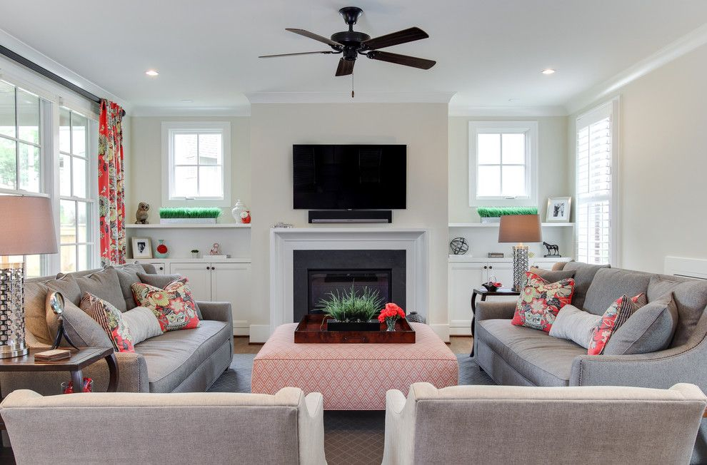 Built in Cabinets Around Fireplace Living Room Transitional with