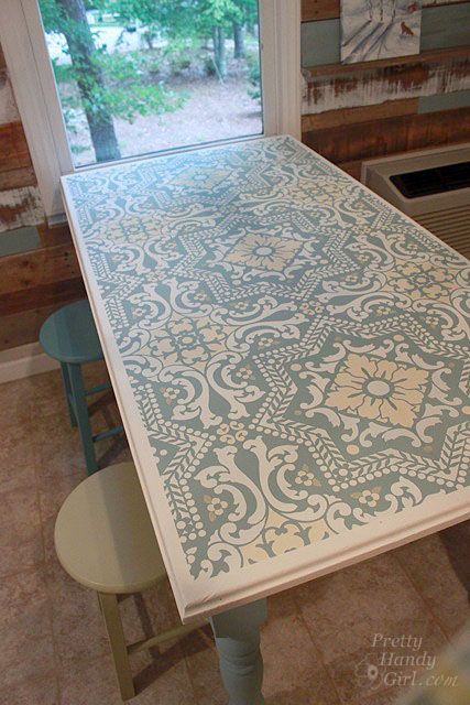 Painted, stenciled  distressed table with Chalk Paint® decorative