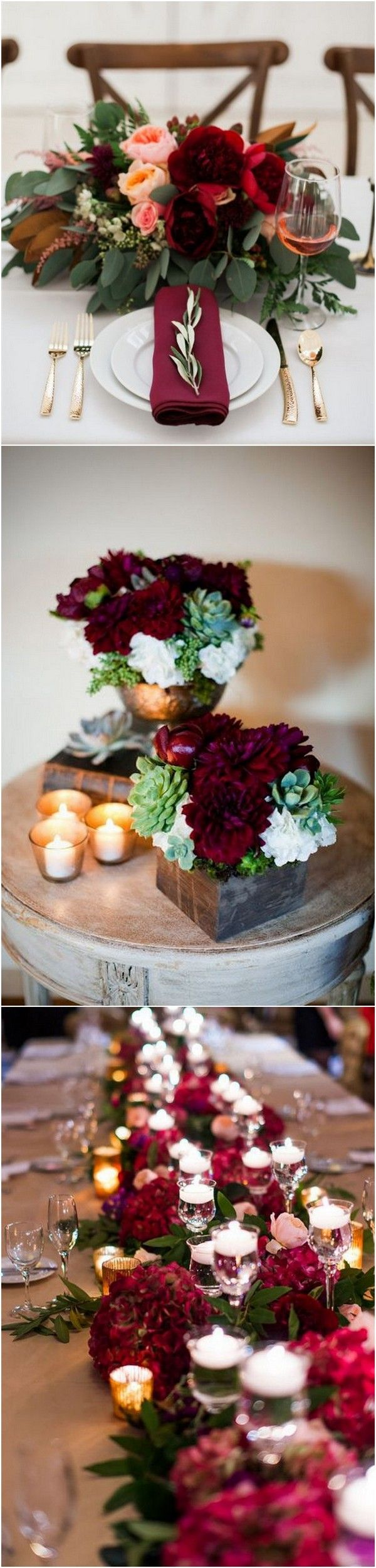 Wedding decorations and ideas december 2018 Top  Burgundy Wedding Centerpieces for Fall   Page  of