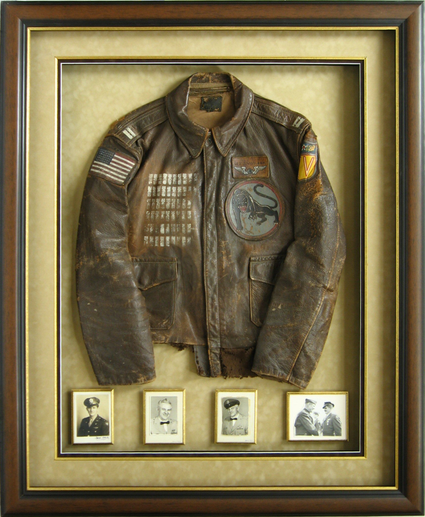 One of my favorite pieces we have done-- a framed bomber jacket ...