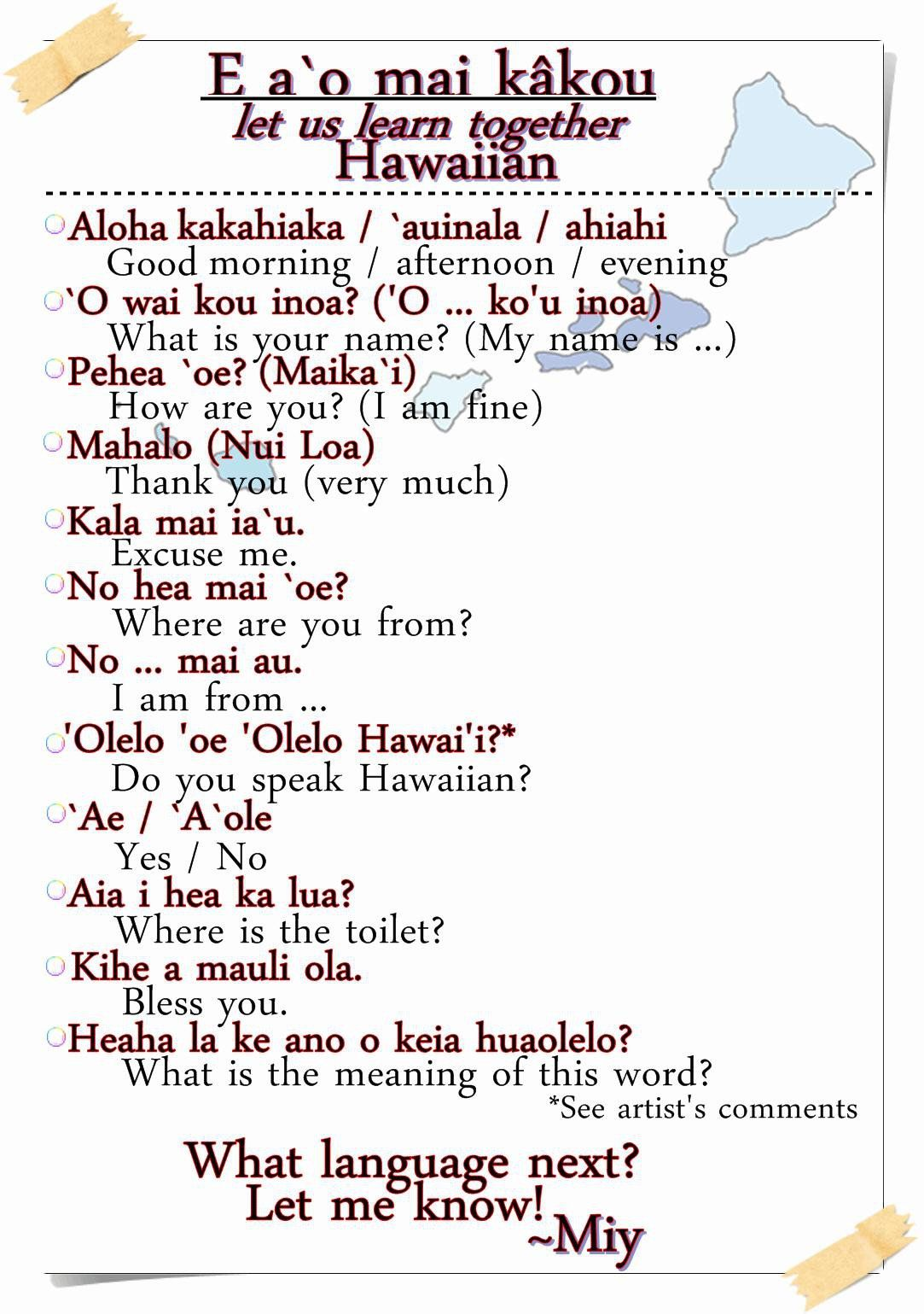 hawaiian phrases | Basic Hawaiian Phrases by MiyakoRei on ...