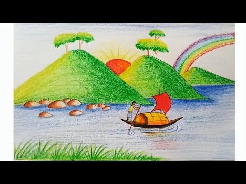 How to draw scenery of island with water colour step by step youtube
