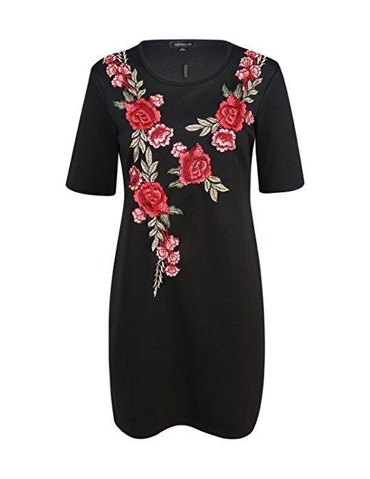 fb43b813b29 HaoDuoYi Womens Casual Loose Rose embroidery knit Dress(XXL