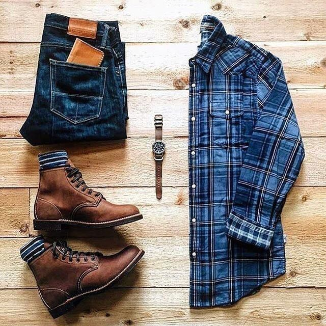 Outfit grid - Blue check shirt, jeans & boots #MensFashionSneaker #outfitgrid