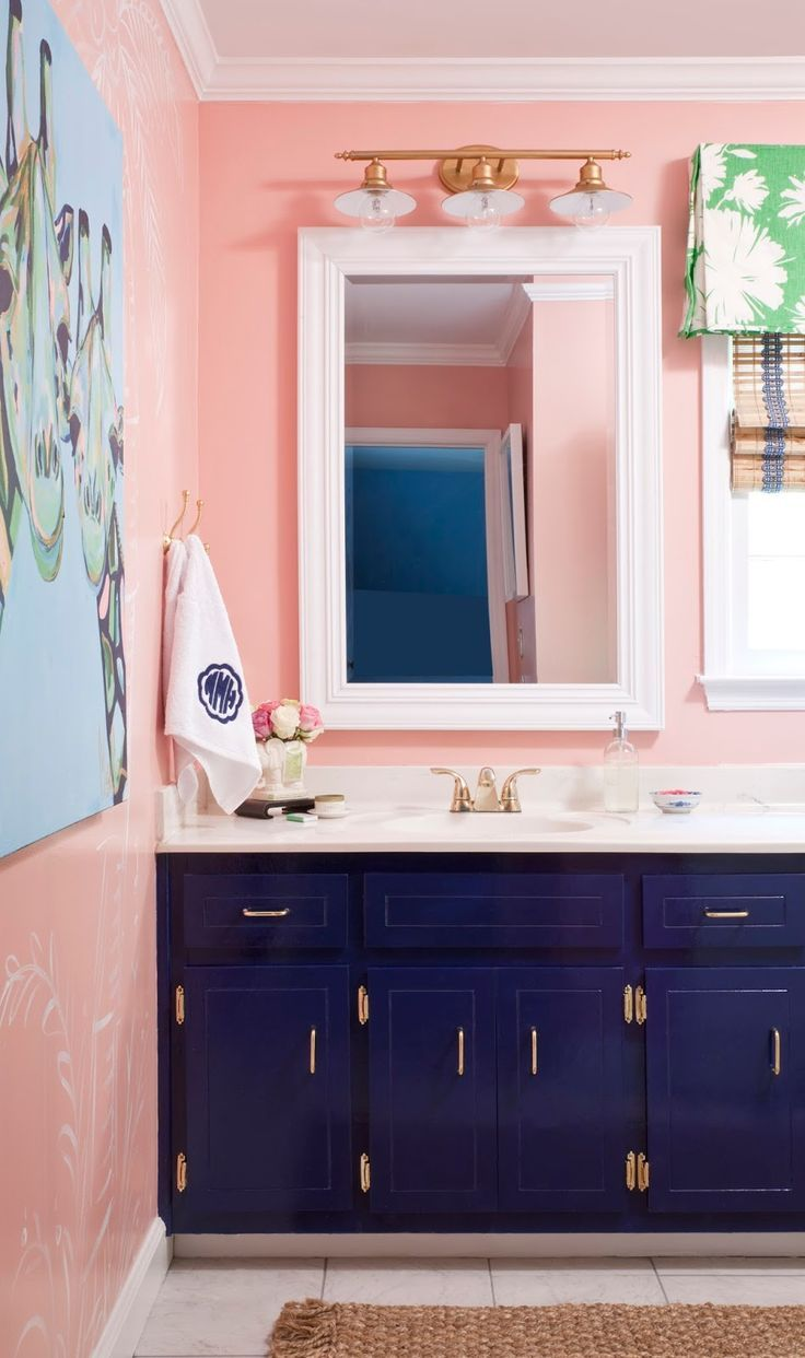 Photo of navy and pink bathroom