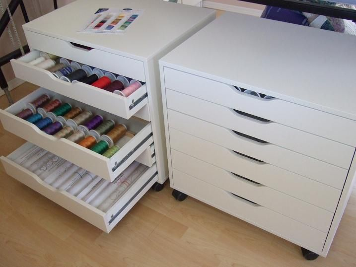 ikea cabinets called alex for thread storage | sew addicted