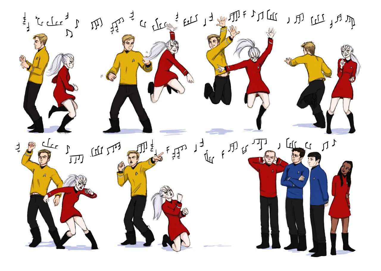 Listen all of y'all it's a sabotage<<love this fanart of Jaylah and 'James T.' rocking out after she graduates from the academy! (I think Scotty should be dancing too, though. But, like, awkwardly. He's an engineer).
