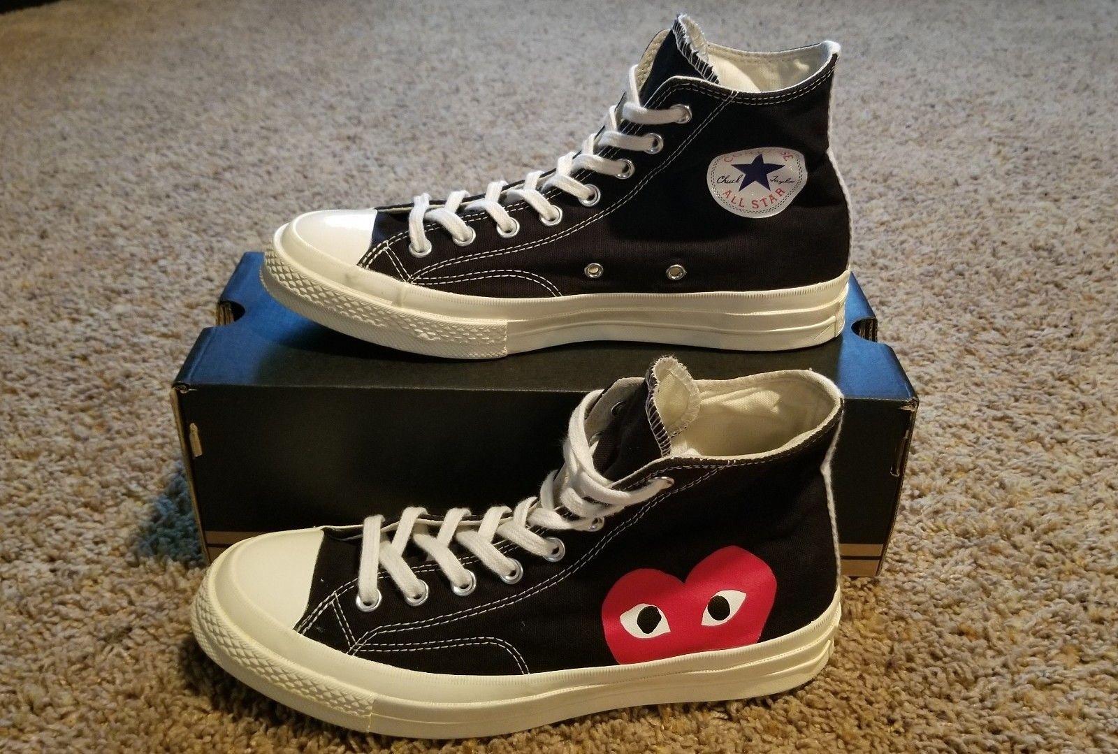 Converse X Comme Des Garcons Play Chuck Taylor U S Shoe Size Men S 8 Mens Boots Fashion Comfortable Mens Shoes High Top Sneakers Fashion