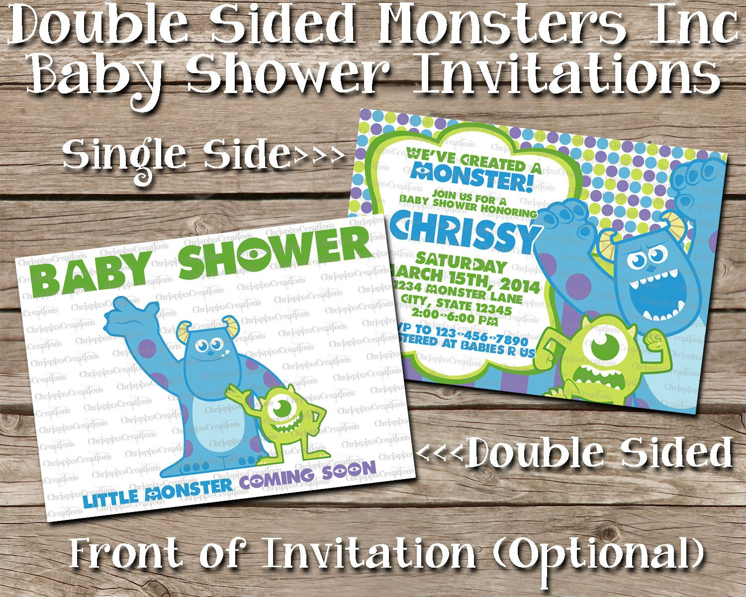Double Sided Monsters Inc Baby Shower by ChrispixsCreations, $5.00 ...