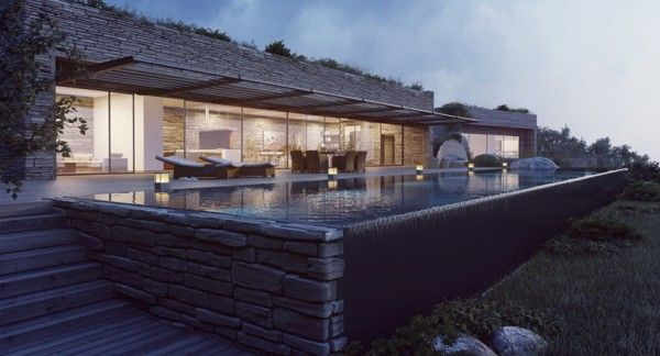 Mountainside villa at dusk this repin is intended for the design inspiration of clients and friends