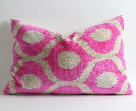 Pink Velvet Pillow Cover - Silk Velvet Ikat Pillow Neon Pink Pillow  Designer Throw Pillow Decorative 441e10273f