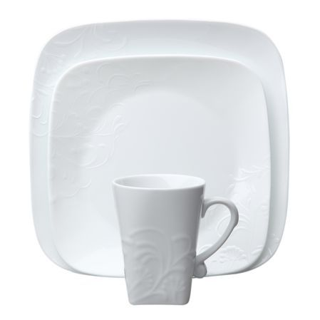 Boutique™ Cherish Square Dinnerware Set - Your guests will be impressed by the beautiful embossed floral motif and contemporary square shape of Cherish.  sc 1 st  Pinterest & Corelle® Boutique™ Cherish Square 16-pc Dinnerware Set - Your guests ...