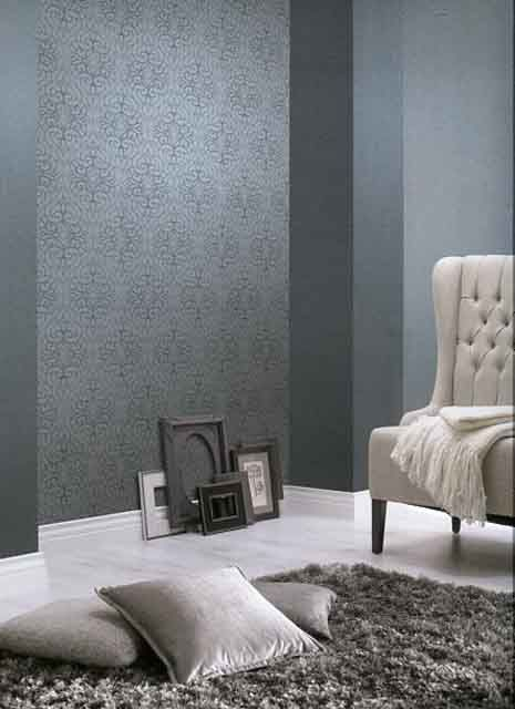 Rasch-Textil shades-223551 Blau-Grau Silber Ornament-Muster - wohnzimmer grau silber