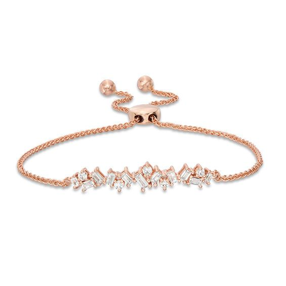 1 2 Ct T W Baguette And Round Diamond Scatter Bolo Bracelet In 10k Rose Gold 9 5 Zales Rose Gold Bracelet Sterling Silver Bracelets Fashion Bracelets