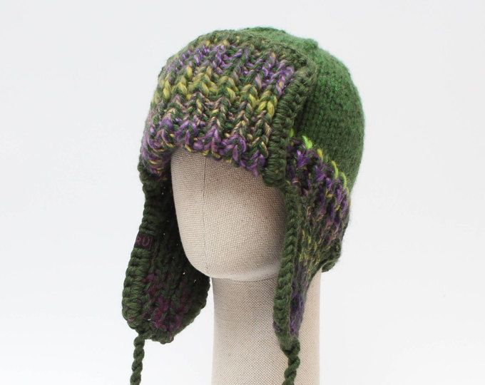 77a2c3b71df GREEN trapper hat   Unisex ear flap hat   Knitted chunky winter hat   Mens  trapper hat   Ear flap hat   Gift for Christmas   Mens hat