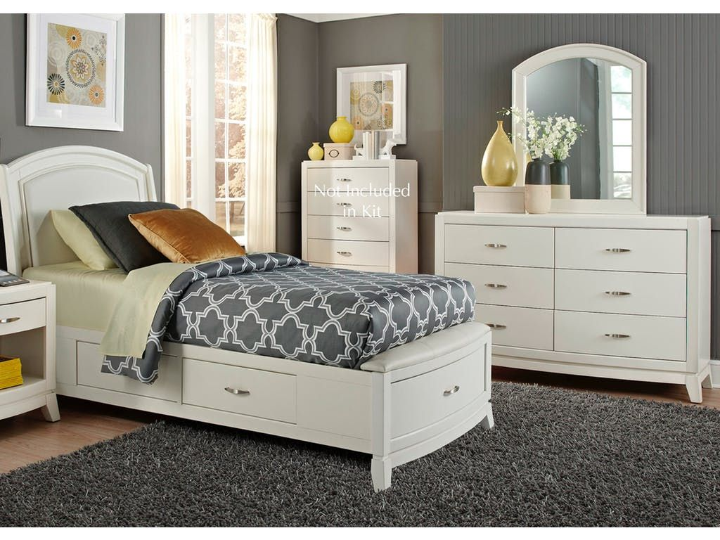 Liberty furniture full one sided storage bed dresser and mirror