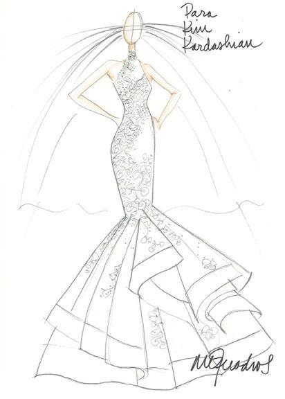 a8d6a8450 Estilistas desenham sugestões de vestidos de noiva para Kim ...