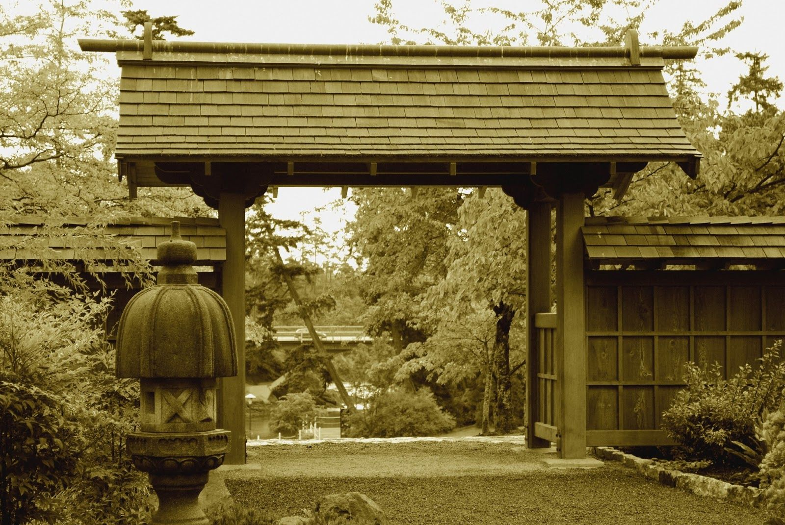 Looking out the gate to the Japanese garden at Esquimalt ...