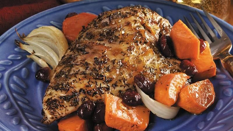 Orange Glazed Roast Chicken Breasts With Sweet Potatoes Recipe Sweet Potato Seasoning Orange Juice And Tangier