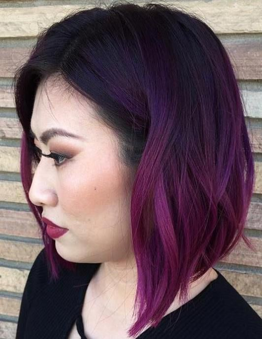 40 Stunning Medium Hairstyles For Round Faces Dark Purple Hair Color Hair Color Purple Dark Purple Hair