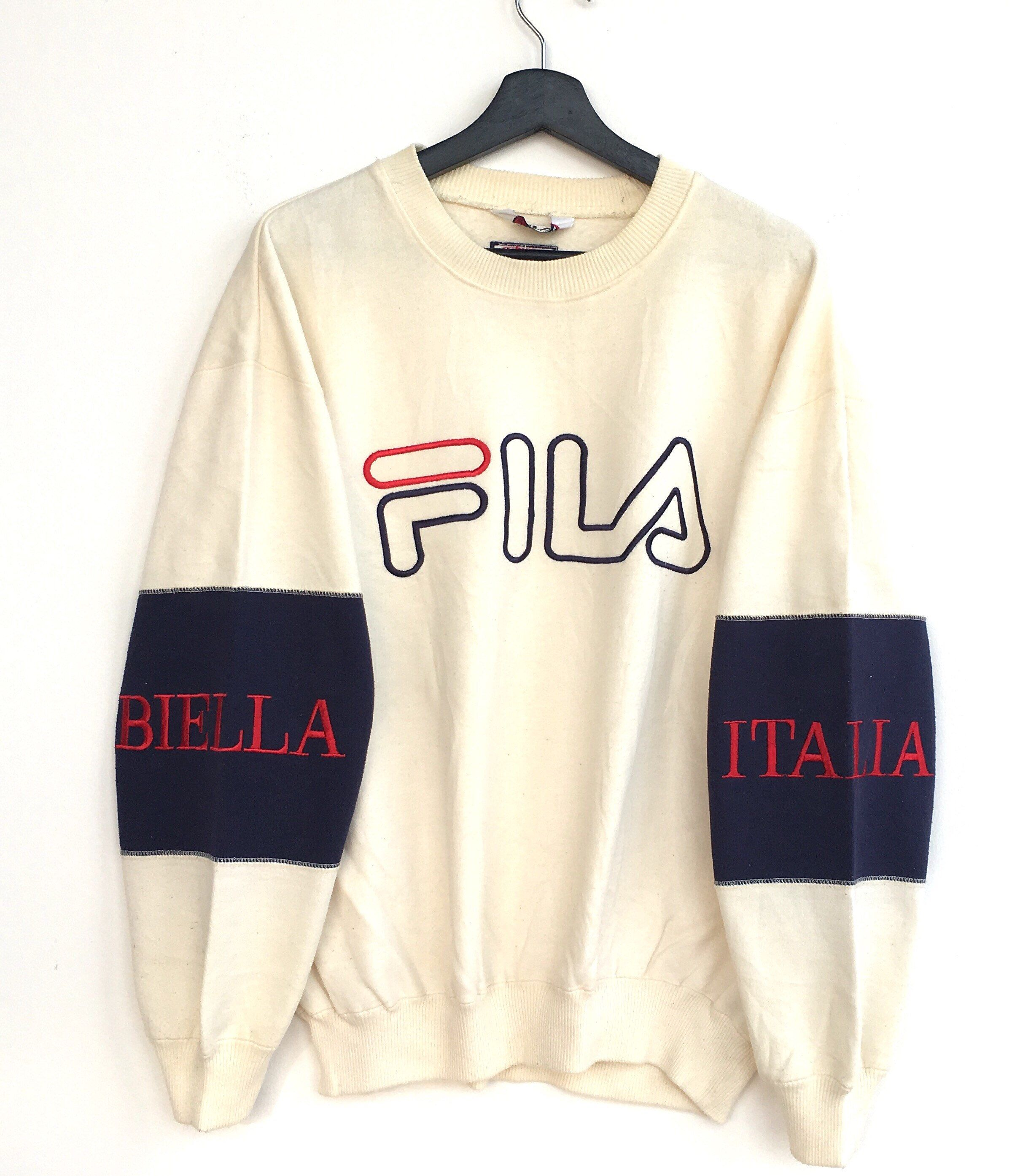 988f0eccf6ce FILA Men Clothing Big Logo Embroidery Sweatshirt Pullover Jumper Tennis  Casual 90s Large Size Fila Tennis Fila Bella Italia  clothing  hoodie ...