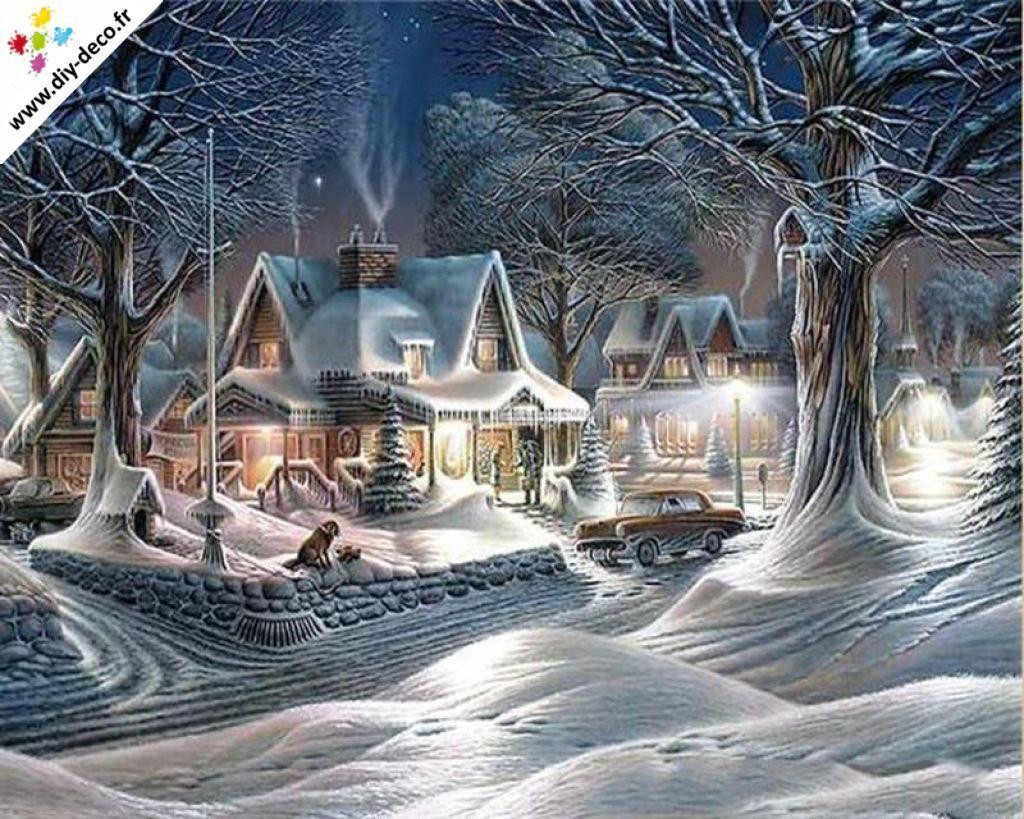 Broderie Diamant Village Sous La Neige Paysage Noel Fond Ecran Noel Art De Noel