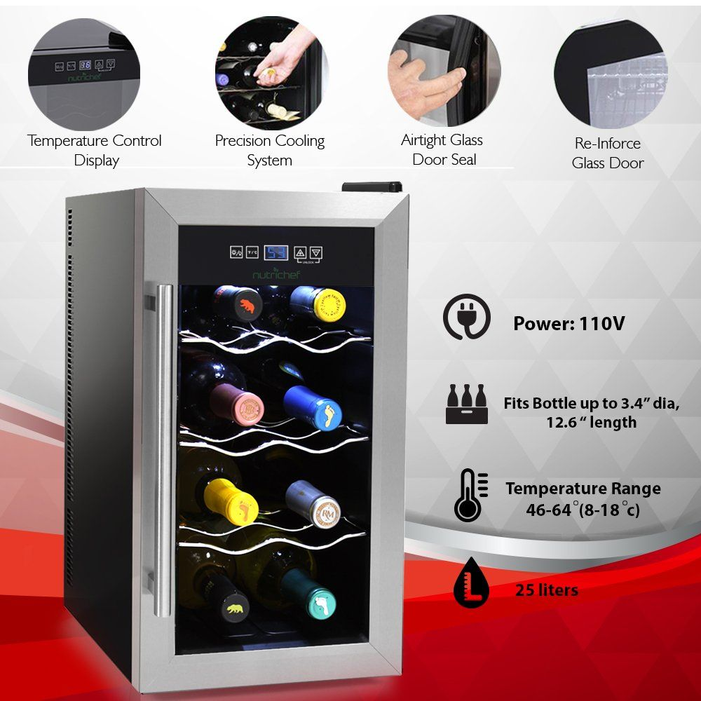 Nutrichef 8 Bottle Thermoelectric Wine Cooler Chiller Counter Top Red And White Wine Cellar F Thermoelectric Wine Cooler Wine Chillers Stainless Steel Fridge