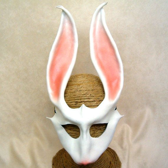 Alice/'s White Rabbit Bunny Mask Handmade Real Leather Venetian Masquerade